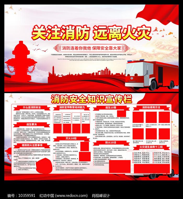 消防安全知识宣传栏展板设计图片