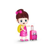 原创元素卡通女孩旅行箱