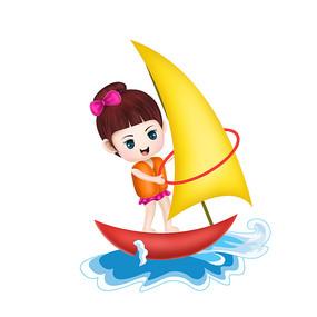 原创元素手绘卡通帆船女孩