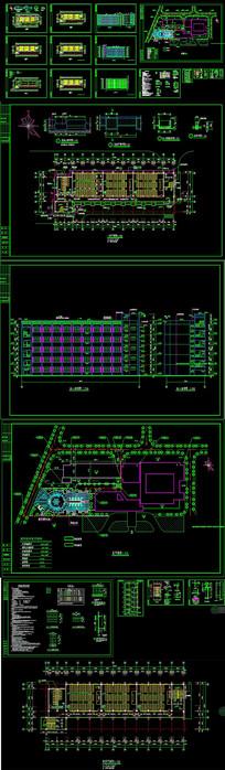 CAD大学教学楼全套建筑图