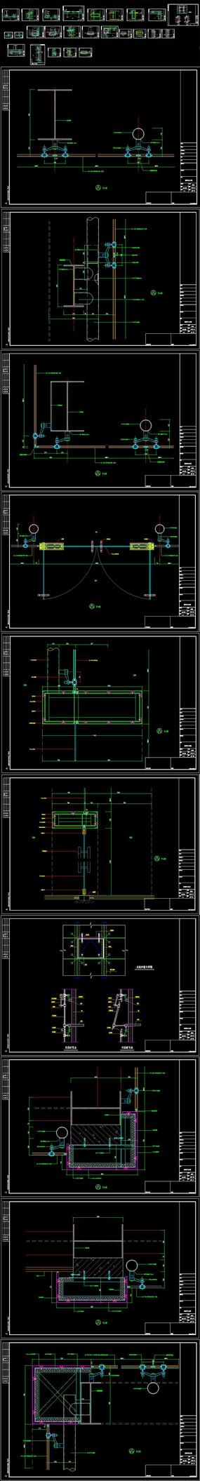CAD点式玻璃幕墙节点施工图