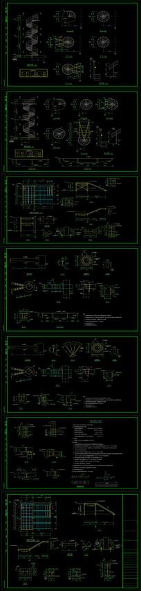 CAD钢结构螺旋楼梯及直跑楼梯节点详图