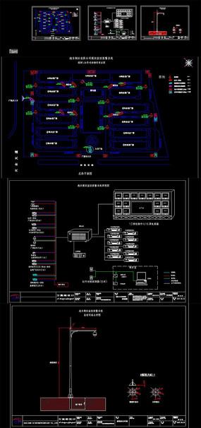 CAD巡更视频监控红外对射栅栏节点图