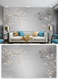 大气创意时尚工笔花鸟背景墙装饰画 PSD