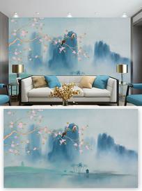 大气山水中式花鸟背景墙装饰画 PSD
