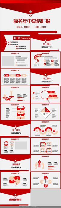 红色商务年中总结汇报PPT模板