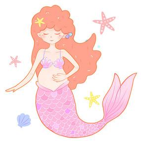 怀孕美人鱼人物头像手绘孕妇