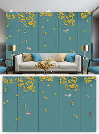 简洁小清新中式花鸟背景墙装饰画 PSD