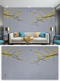 山水大气中式花鸟背景墙装饰画 PSD