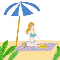 沙滩美女人物