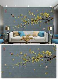 小清新中式花鸟背景墙装饰画 PSD
