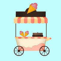 原创甜品手推车元素