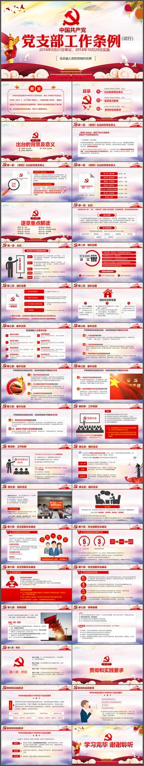 2018中国共产党支部工作条例党课PPT pptx