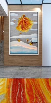 白云飞鱼玄关装饰画