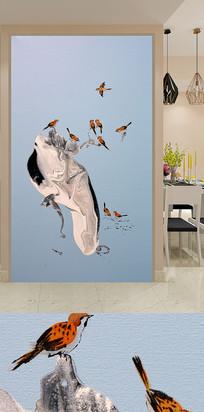 飞鸟麻雀玄关装饰画