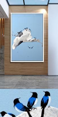 假山喜鹊相玄关装饰画