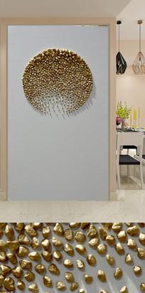 金色艺术石子玄关装饰画
