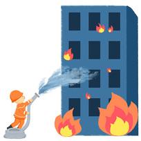 卡通手绘消防员灭火消防安全元素