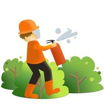 卡通手绘消防员使用灭火器消防安全生产元素
