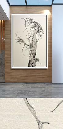 枯萎树枝玄关装饰画