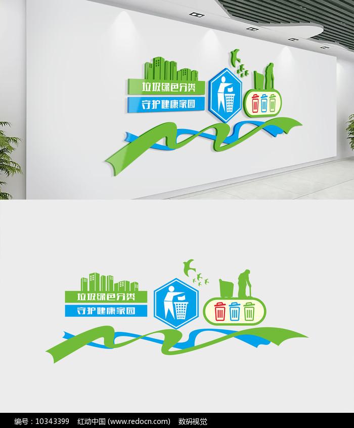 垃圾分类蓝色社区文化墙图片