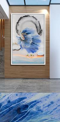 蓝色飞鱼玄关装饰画