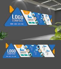 蓝色企业文化展板模板