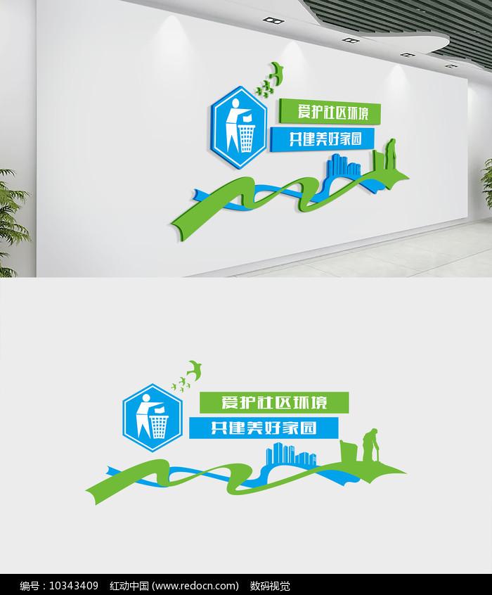 绿色爱护社区环境文化墙图片