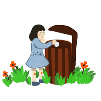 女孩垃圾桶垃圾分类文明城市公益元素