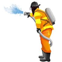 手绘消防员使用灭火器消防安全生产元素