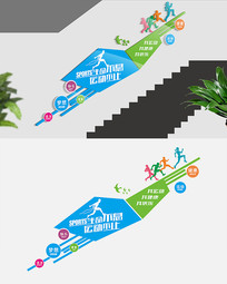 校园楼梯运动文化墙