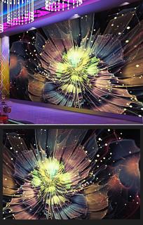 放射分形唯美花朵艺术夜店背景墙