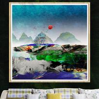 酒店抽象画彩色挂画