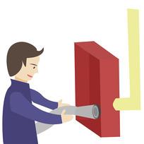 卡通消防员消防栓使用方法第三步元素