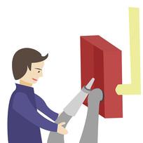 卡通消防员消防栓使用方法第四步元素