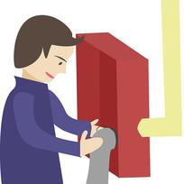 卡通消防员消防栓使用方法第五步元素