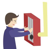 卡通消防员消防栓使用方法第一步元素
