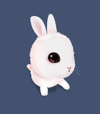 可爱卡通趴着的小兔子