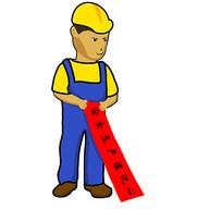 手绘卡通建筑工人安全生产月元素