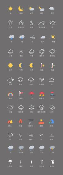 天气预报矢量图标素材