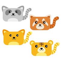 可爱方形猫科卡通动物