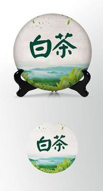 白茶茶饼棉纸图案包装设计PSD
