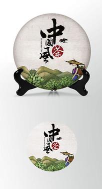 采茶女绿色茶叶棉纸茶饼包装设计