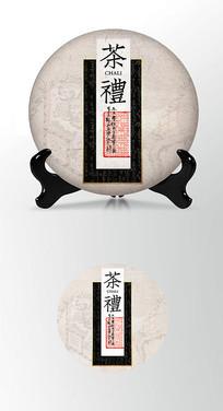 茶礼高端简约茶叶棉纸茶饼包装设计