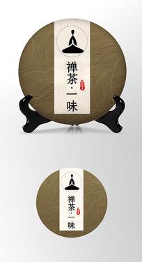 禅茶味道茶饼棉纸图案包装设计
