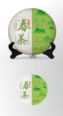 春茶山水背景茶叶棉纸茶饼包装设计