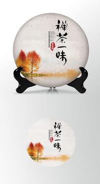 枫叶茶叶棉纸茶饼包装设计