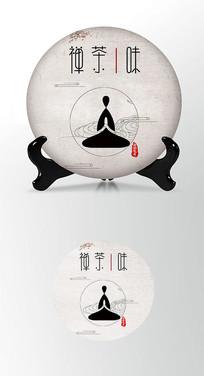 禅佛茶饼棉纸图案包装设计