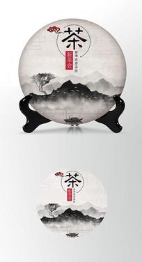 古茶茶饼棉纸图案包装设计PS