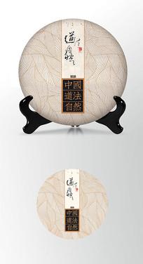古典背景茶叶棉纸茶饼包装设计